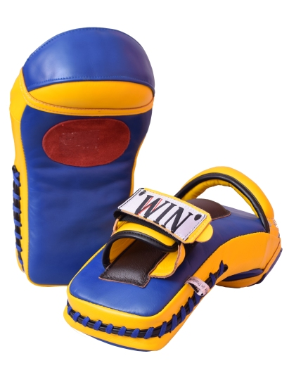yellow and blue mini thai pads